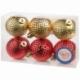 Набор пластиковых шаров 6 шт, 60 мм золото/красный