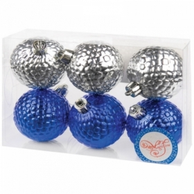 Набор пластиковых шаров 6 шт, 60 мм серебро/синий