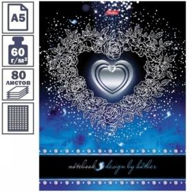 """Бизнес-блокнот А5 ЛАЙТ Hatber """"Серебряное сердце"""", 5-цветный блок, 80 листов"""