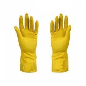 Перчатки хозяйственные латексные с х/б напылением желтые Komfi/120