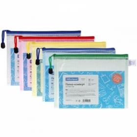 Папка-конверт на молнии OfficeSpace А5, 250 мкм, сетка, ассорти