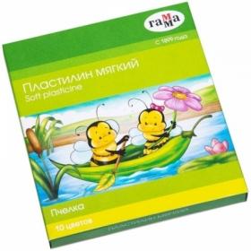 """Пластилин восковой мягкий Гамма """"Пчелка"""" 10 цветов, 150 г, со стеком"""