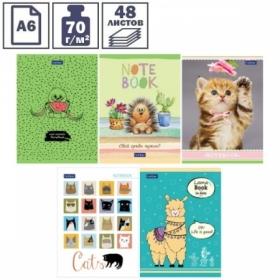 """Записная книжка А6 """"Забавные зверята"""" на скрепке, 48 листов, блок в точку"""