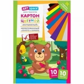 """Картон цветной немелованный A4 ArtSpace """"Медвежонок"""", 10 листов, 10 цветов"""