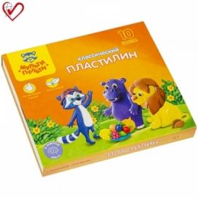 "Пластилин Мульти-Пульти ""Приключения Енота"", 10 цветов, 200 г, со стеком"